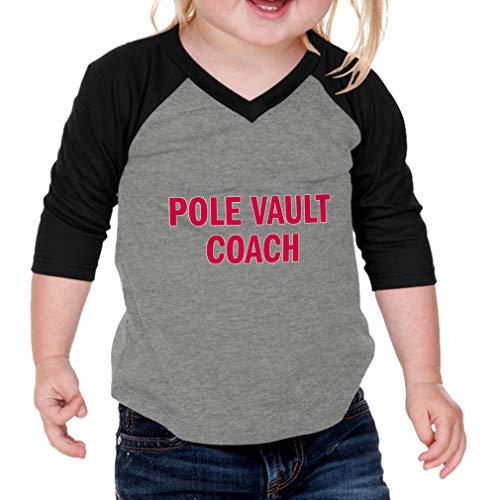 Pole Vault Coach Cotton/Polyester 3/4 Sleeve V-Neck Boys-Girls Infant Raglan T-Shirt Baseball Jersey - Gray Black, 12 Months