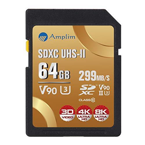 Card Microsd 60x Memory - Amplim 64GB UHS-II SDXC SD V90 Card - Blazing Fast 299MB/S (1993X) Class 10 U3 Ultra High Speed UHSII Extreme Pro SD XC Memory Card. Professional 4K 8K Video. 64 GB / 64G TF Flash