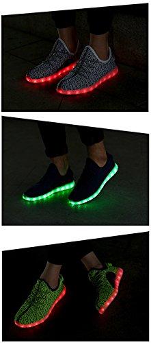 Honeystore Damen Herren Turnschuhe Licht Luminous 7 Farben Unisex USB Lade Outdoor Leichtathletik Beiläufige Paare Schuhe Grau
