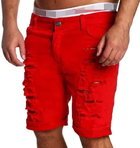 e977e3500f Wofupowga Men Washed Denim Broken Hole Mid Waist Jeans Shorts Pants