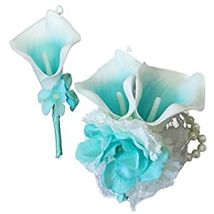 Lily Garden Boutonniere and Wrist Corsage Set Artificial Calla Lilies Flowers (Turquoise Picasso) 58