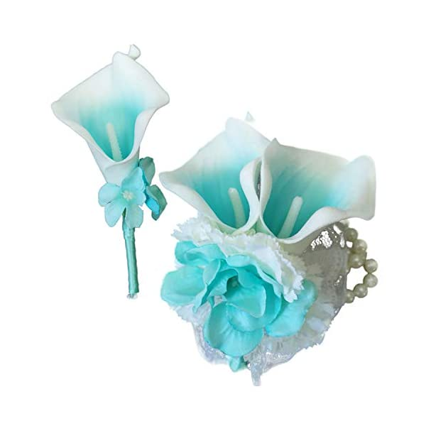 Lily Garden Boutonniere and Wrist Corsage Set Artificial Calla Lilies Flowers (Turquoise Picasso)