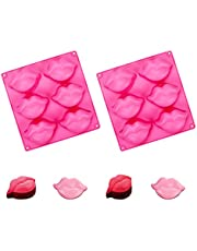 QYCX 2 Pcs Red Lips Silicone Molds 3D Sexy Lips Kisses Collection Silicone Molds Soap Mold Chocolate Candy Bath Bomb Mould Ice Cube Jello Tray Cupcake Cake Baking Mold for DIY Cupcake Toppers Cake Topper Wedding Birthday Party Decorations Makeup Party Supplies(Hot Lip Silicone Mold)