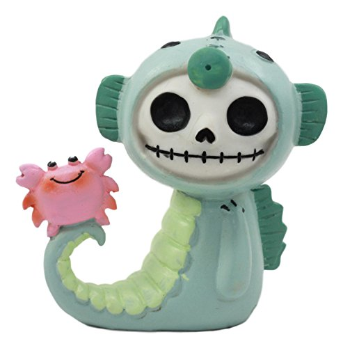Ebros Furry Bones Sea World Anchor The Seahorse Costume Skeleton Monster With Scuttle The Pink Crab Collectible Figurine 2.5