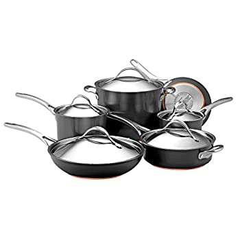 Image of Anolon 82835 Nouvelle Copper Hard Anodized Nonstick Cookware Pots and Pans Set, 11 Piece, Dark Gray Home and Kitchen