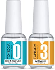 TOMICCA Top & Base Coat and Activator Set Special for Nail Powder Dip System Polish, Fast Drying without UV LED, Shine Finish and Long Lasting, 2 in 1 Dip Manicure Liquids Starter Kit (2 x 15ml)
