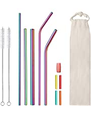 Reusable Straws,Stainless Steel Straws,Metal Straws with Silicone Tips,Full Variety Drinking Straws for 20 oz 30 oz 40 oz Tumblers