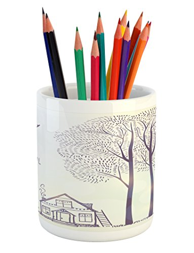 Quote Pencil Pen Holder by Ambesonne, Country Style House Trees Sketch Illustration It's a Beautiful Day Quote, Printed Ceramic Pencil Pen Holder for Desk Office Accessory, Lavender and White