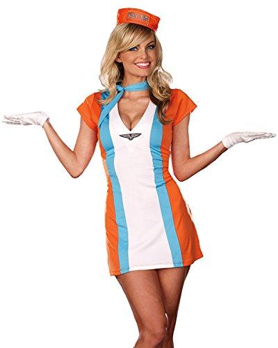 Sexy Stewardess Costume Dress Flight Attendant 70s Womens Theatrical Costume Sizes: Small (60s Flight Attendant Costume)