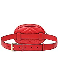 Fashion PU Leather Fanny Pack Small Waist Bag with Belt for Girls (Leather Red)