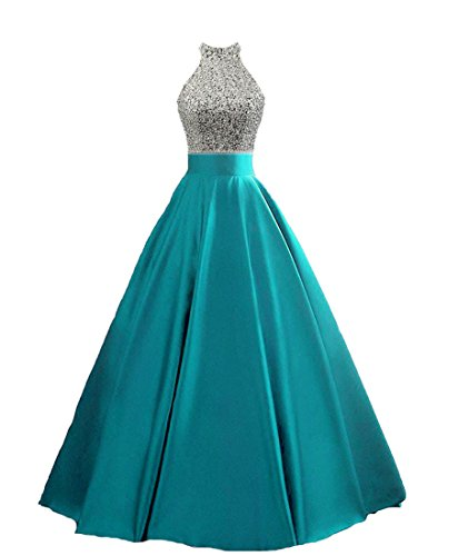 HEIMO Women's Sequined Keyhole Back Evening Party Gowns Beaded Formal Prom Dresses Long H123 6 Turquoise