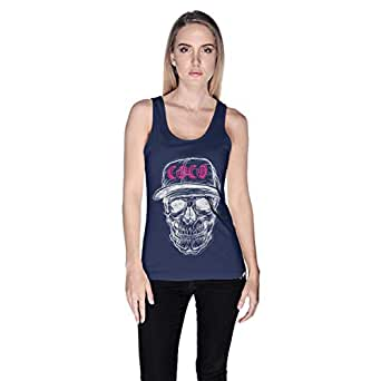 Creo White Pink Coco Skull Tank Top For Women - L, Navy Blue