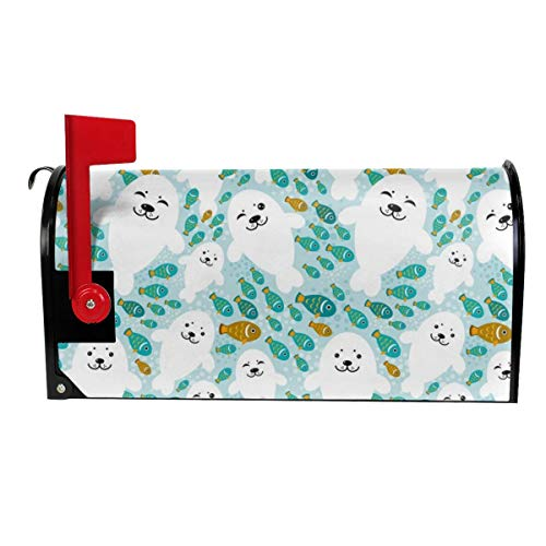 (Milyla-ltd Fish and White Baby Seal Animal in Blue Water Magnetic Mailbox Cover Letter Post Box Cover Wrap Standard Size 21