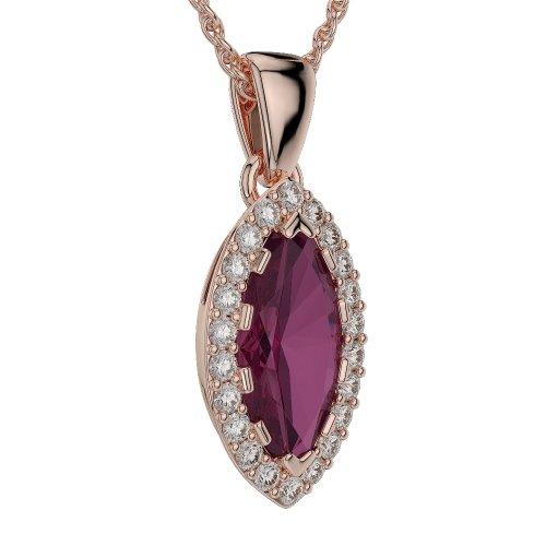 Or Rose 18carats 3.50CT G-H/VS Certifié Marquise Forme Rubis et diamant Colliers Agdnc-1068