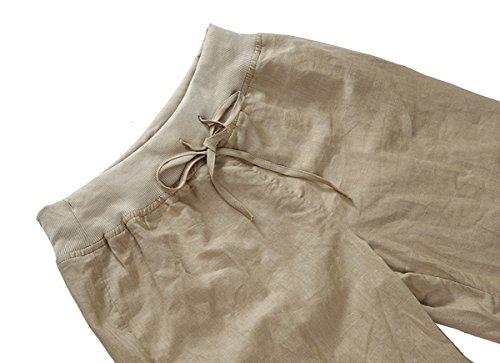Mujer Linen Yoga Casual Pantalones de playa Summer Comfy Casual Pantalones con cordón elástico ancho khaki
