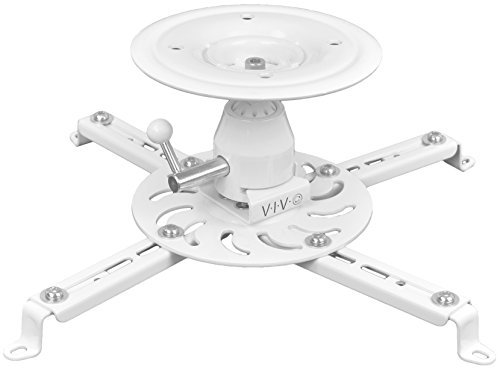 VIVO Universal Articulating Swivel Tilt Premium Ball Joint Heavy Duty Ceiling Projector Theater Mount Full Motion White (MOUNT-VP04W)