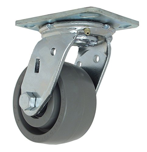 4in Ball Swivel - RWM Casters 46 Series Plate Caster, Swivel, Elastomer Wheel, Ball Bearing, 1050 lbs Capacity, 4