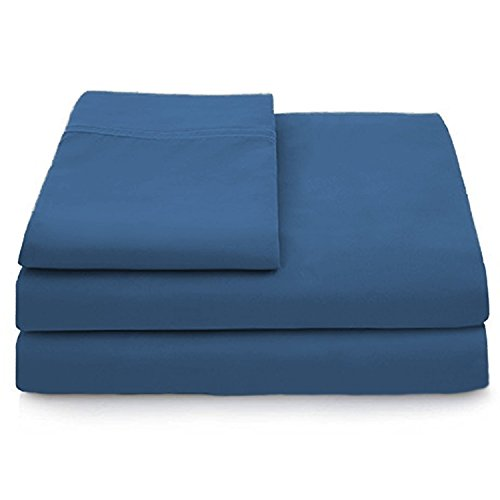 Cosy House Collection Luxury Bamboo Bed Sheet Set - Hypoallergenic Bedding Blend from Natural Bamboo Fiber - Resists Wrinkles - 4 Piece - 1 Fitted Sheet, 1 Flat, 2 Pillowcases - Full, Royal Blue