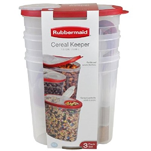 Rubbermaid Plastic Shelving - Rubbermaid1.5 gallon Cereal/Snack Storage Container (3 Pack), Red