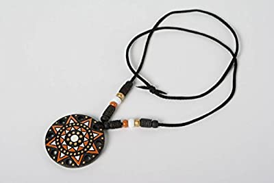 Beautiful handmade designer clay neck pendant with ornament and enamel painting