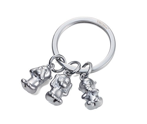– KR17-18/MA – Keyring – emoji monkey – 3 monkeys – See no evil, hear no evil, speak no evil. – keychain, key chain – cast metal– matt – chrome plated – silver – TROIKA-original (Monkey See No Evil Hear No Evil)