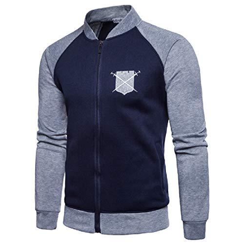 Collar blue Navy RkBaoye Stand Contrast Raglan with up Men's Jacket Baseball Zips RUUwaqXr