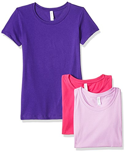 Clementine Apparel Women's Petite Plus Ideal Crew-Neck T-Shirts (Pack of 3), Lilac\Purple Rush\Rasberry, XL