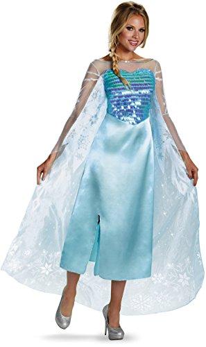 Disguise Women's Disney Frozen Elsa Deluxe Costume, Light Blue, Medium/8-10