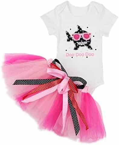 d76fe68de8 Baby Girls Shark Doo Doo Doo Romper + Tutu Dress 1st Birthday Outfit Set