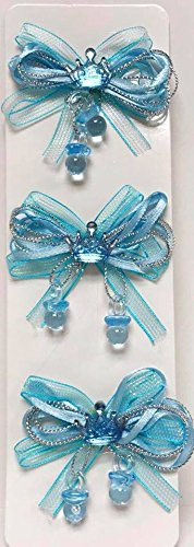 Blue Bows Favor Prince Crown Baby Shower Theme Ribbon Accent Decoration 12 Ct