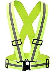 CoWalkers Chaleco reflectante con bandas de alta visibilidad, ajustable y elástico | Seguridad y alta visibilidad para correr, trotar, pasear perros, andar en bicicleta | Se adapta a la ropa al aire libre - Chaqueta de moto