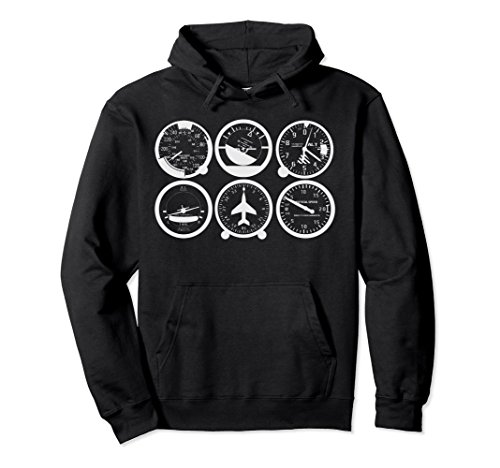 Unisex Pilots Basic Six Pack Flight Instruments Pullover Hoodie Xl  Black