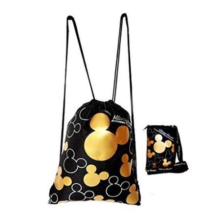 Disney Mickey Mouse Drawstring Backpack & Lanyard 2 Pack Gold