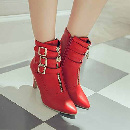 Meotina Dames Enkellaarzen Hoge Hakken Gesp Puntschoen Schoenen Rood