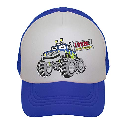 JP DOoDLES Monster Truck on Kids Trucker Hat. Available in Baby, Toddler, and Youth Sizes. (Royal Blue, Kiddo 2-5 YRS)