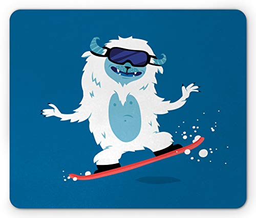 Ambesonne Bigfoot Mouse Pad, Yeti Monster Illustration While Snowboarding in Winter Theme Fantasy Monster Print, Standard Size Rectangle Non-Slip Rubber Mousepad, Multicolor