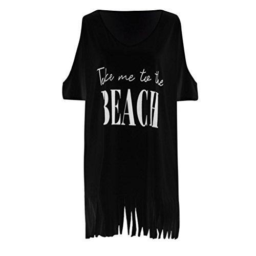 Noche Playa Casual Hombros Descubiertos de Negro ❤️ de de Playero Corta Fiesta Traje Playa Sexy Vestido Blusa Vestido Mujer LuckyGirls Manga Flecos Falda Zq8wP6W