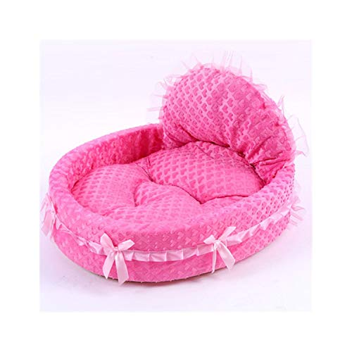 Luxury Lace Princess Dog Bed Cat Litter Puppy Nest Mat Soft Doggy Cushion Teddy Pet Beds for Small Medium Dogs Cat Sofa Kennel,Rose Pink Heart,56x53cm