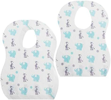 Healifty Baby Dining bib Baby bib 20pcs Disposable Waterproof Bib Adjustable Magic Tape Cute Dining Bibs for Baby Newborn Infant