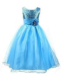 Kids Girls Sequins Flower Tulle Sleeveless Belted Dress