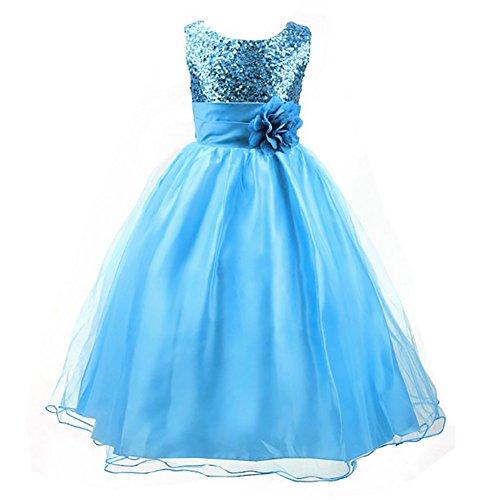 LPATTERN Summer Kids Baby Girls Tutu Tulle Flower Sequin Princess Dresses Bowknot Sleeveless Party Wedding Dress Blue 10-11 Years