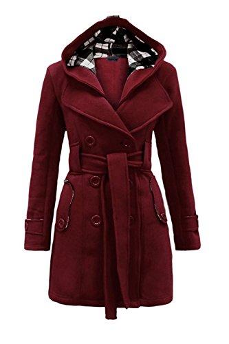 Laine Vêtements Winered Manteau Femmes Parkas Suvotimo Occasionnel Doubles Ceinture Avec Corset Bouton Carreaux Wqg0SaAwR