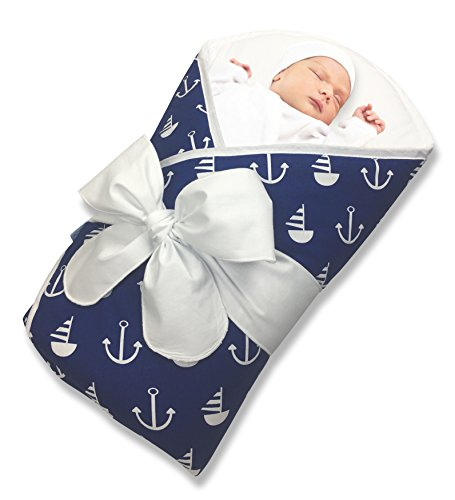 Bundlebee Baby Wrap/Swaddle/Blanket - Built-in Organic Infant Pad - Perfect for Bassinet and Easy Crib Transition - Lightweight - Gift Packaging - Newborns - Summer/Winter - Nautical Blue