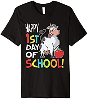 Happy 1st Day of School  Back to School Cow Premium T-shirt | Size S - 5XL