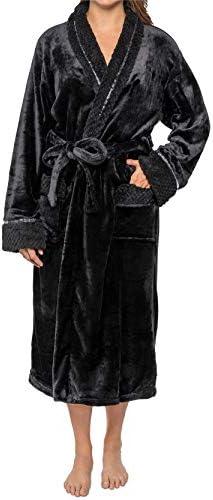 Details about  /Premium Women Fleece Robe with Satin TrimLuxurious Super Soft Plush Bathrobe