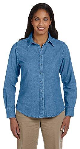 - Harriton Ladies 6.5 oz. Long-Sleeve Denim Shirt, Medium, LIGHT DENIM