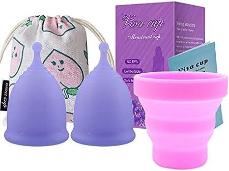 Yissma Copas menstruales, Paquete de 3 Copas Reutilizables ...