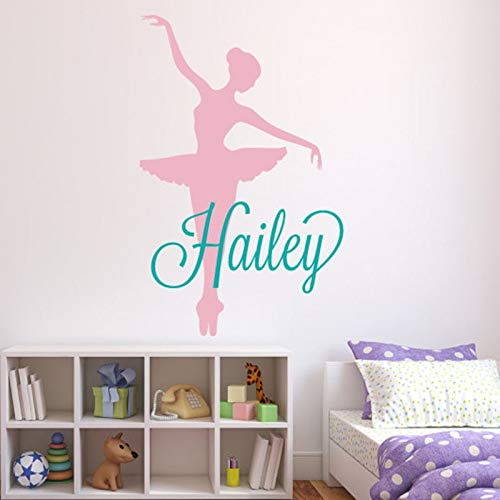PPL21 (Leave a Message of Custom Information) Custom Name Ballerina Wall Decal Personalized Name Wall Stickers for Girls Nurser Room Ballet Teen Girls Room Name Decal L148 1 PCs -