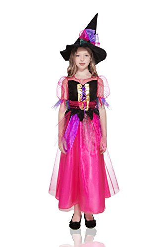 Kids Girls Pink Witch Halloween Costume Impish Witchling Dress Up & Role Play (8-11 years, hot pink, (Witch Girl Costume)