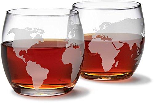 Etched Globe Whiskey Glasses Set